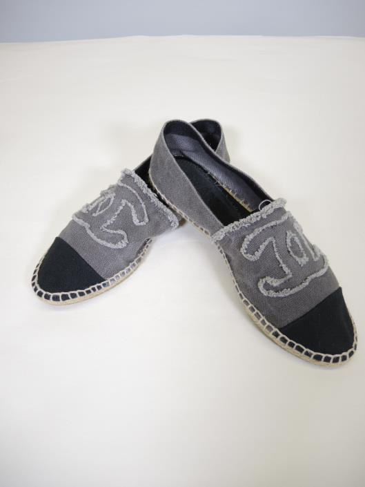 CHANEL Grey and Black Canvas Espadrille Flats Size 7 ½ Sold in one day for $249. 04/22/17 Step into Spring in chic comfort with these canvas espadrille flats.