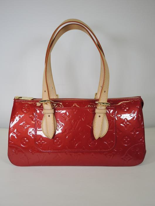 LOUIS VUITTON 2008 Red Rosewood Avenue Monogrammed Vernis Shoulder Bag Retailed for $1100, sold in one day for $799.