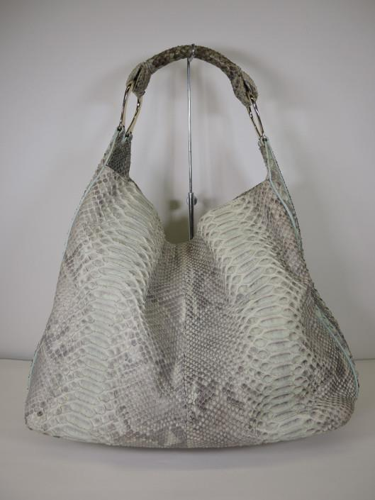 GIORGIO ARMANI Pale Mint and Grey Python Hobo Shoulder Bag Retailed for $3000, sold in one day for $799.