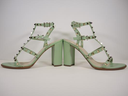 VALENTINO Mint Green Rockstud T-Strap Gladiator Sandal, Size 10 Retails for $1045, sold in one day for $499.