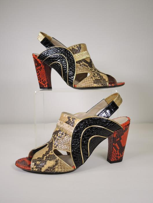 DRIES VAN NOTEN Black, Tan, and Red Python and Stamped Leather Slingback Heels, Size 8.5 Sold in one day for $199.