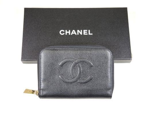 CHANEL 1999 Black Caviar Leather Zip-Around Wallet Sold in one day for $349. 04/01/17 Seemingly unused for nearly 20 years, this black caviar leather wallet by Chanel is in near new condition.