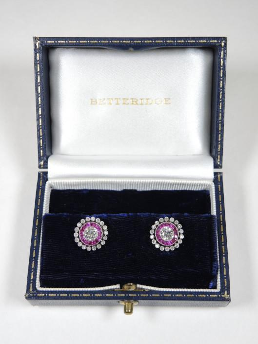 Vintage Diamond and Ruby Earrings Set in Platinum Appraised at $4450, sold in one day for $2200. 04/01/17 These vintage earrings are sweet and delicately Art Deco.