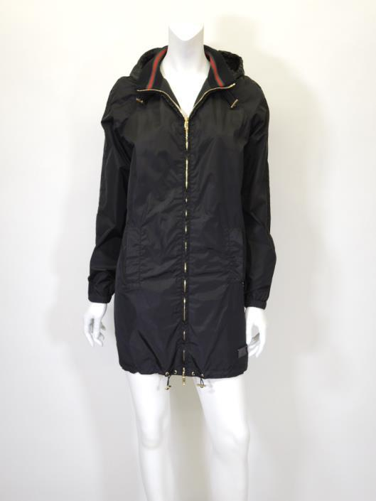 GUCCI Black Nylon Hooded Coat with Signature Striped Collar, Size S Sold in one day for $399.