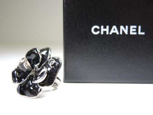 CHANEL Sparkling Black Enamel on Silver Camellia Ring, Size 7 Sold in one day for $329.