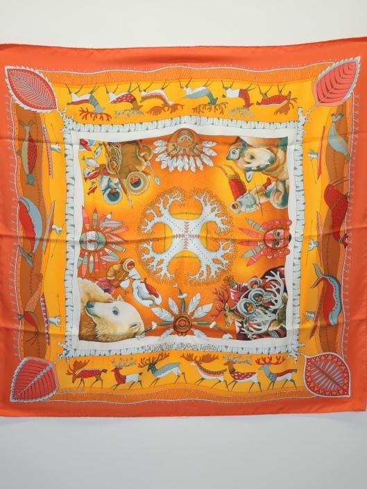 HERMÈS La Vie Du Grand Nord Silk Scarf by Aline Honoré Sold in one day for $279. 02/18/17 From 2004, this piece, while winter in its motif, has the springiest of colors!
