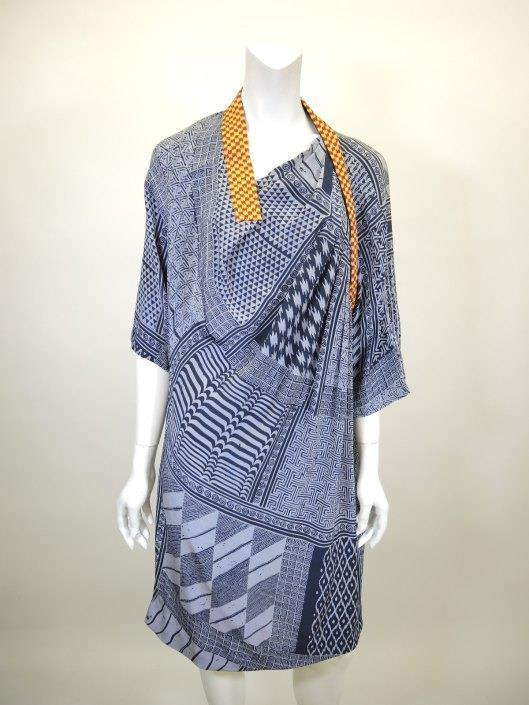 DRIES VAN NOTEN Blue Geometric Silk Dress Size 10 Sold in one day for $399. 03/11/17 Belgian based designer Dries Van Noten uses some of the most interesting mix of prints in fashion today.