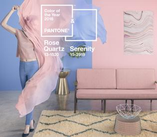 Joined together, Rose Quartz and Serenity demonstrate an inherent balance between a warmer embracing rose tone and the cooler tranquil blue, reflecting connection and wellness as well as a soothing