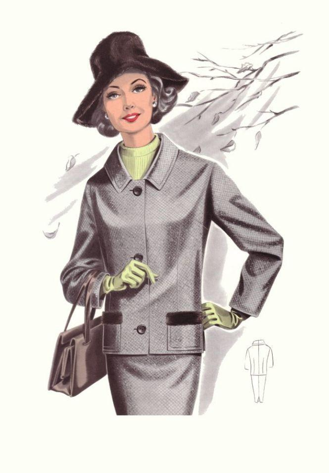 2) Dressy, business suit something like this with a purse, hat and low heels.