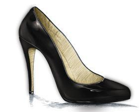 BLACK HEELS An enclosed heel in patent leather is great with dresses or trousers.