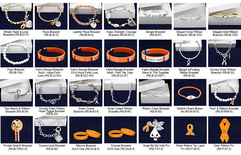 Orange Ribbon Fundraising Kits This sampler kit has 1 sample of every jewelry item that we sell.