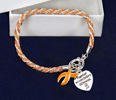 An orange ribbon charm and a heart charm that says, Where There Is Love There Is Life.