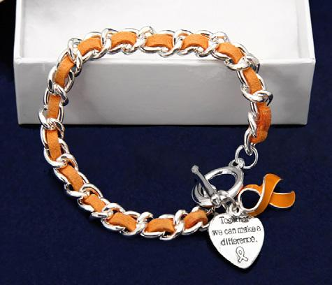 Sterling silver plated toggle bracelet with an orange string wrapped around a silver metal chain.