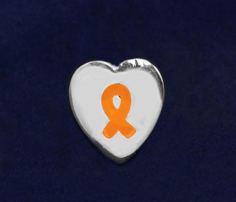 Silver Trim Tac Pin. This pretty orange ribbon pin is a smaller sized lapel pin.