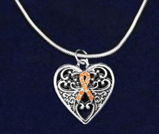 This sterling silver plated necklace is a 17 inch snake chain with a lobster clasp that has a small orange ribbon