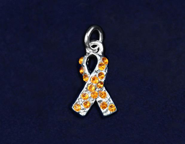 This sterling silver plated ribbon charm is approximately 2.5 x 1.