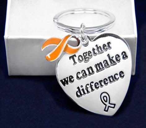 Orange Ribbon Keychains, Rings and Beads Big Heart Keychain.