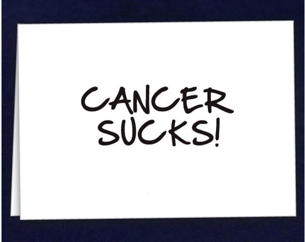 Comes 12 cards with envelopes in a bag. (WDC-17) Qty: 12/pkg. Cancer Suck Note Cards.