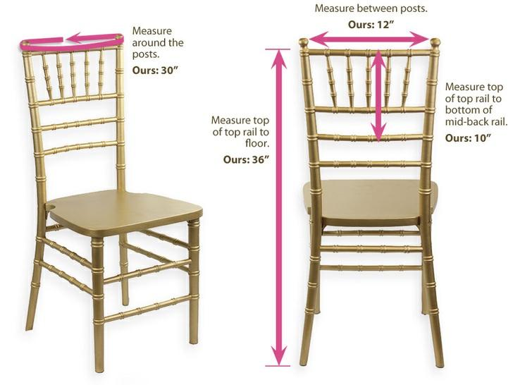 "The chair we used is called the ""Chiavari Wedding Chair"" and we got our four samples from local event supplier extraordinaire, West Coast Event Productions."