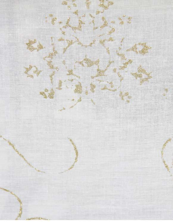 flower gold CQF4 Cotton voile