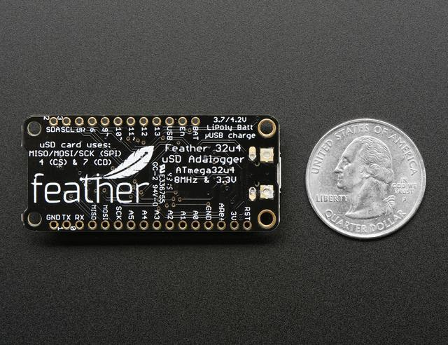 "Here's some handy specs! Like all Feather 32u4's you get: Measures 2.0"" x 0.9"" x 0.28"" (51mm x 23mm x 8mm) without headers soldered in Light as a (large?) feather - 5.1 grams ATmega32u4 @ 8MHz with 3."