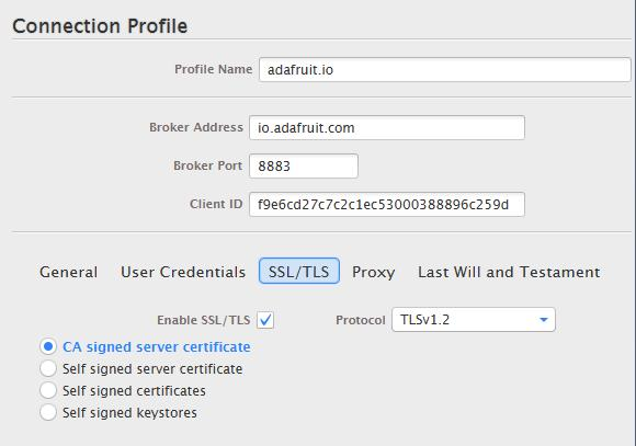 Select CA signed server certificate and for Protocol, try TLSv1.
