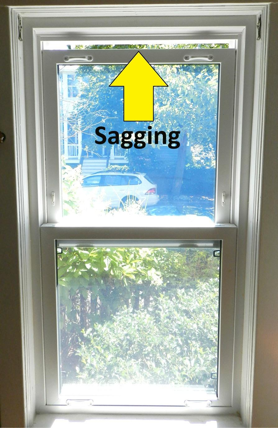 section 31 sagging upper sashes Okay, so you or someone before you got replacement double-sash windows, probably 10 to 15 years ago.