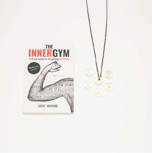 PACKAGE INCLUDES: THE INNER GYM BOOK, 1 BRASS CHAIN NECKLACE, 6 BRASS TOKENS WITH
