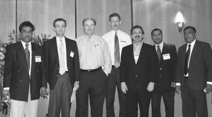 Representatives of the textile and apparel industries from the United States, Bangladesh, Turkey and Sri Lanka gather in Brussels in 2004 to discuss the