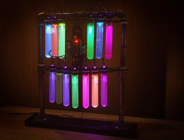 Overview A proper mad science laboratory requires mysterious potion-filled test tubes lit with eerie colors to flicker in thier rack. Build this display for maximum creepy effect!