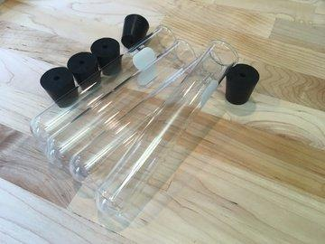 Pyrex test tubes (http://adafru.it/qwf) and matching stoppers with holes (http://adafru.