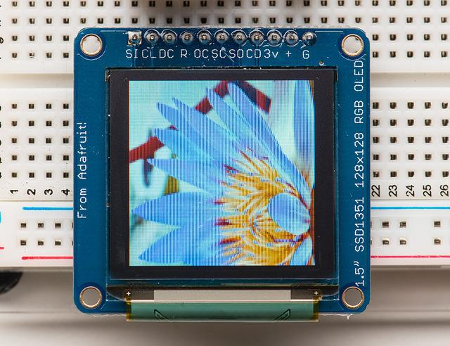 "Board Technical Details 1.5"" diagonal OLED, 16-bit color SPI interface 3.3-5V logic and power Micro-SD card holder Dimensions: 43."