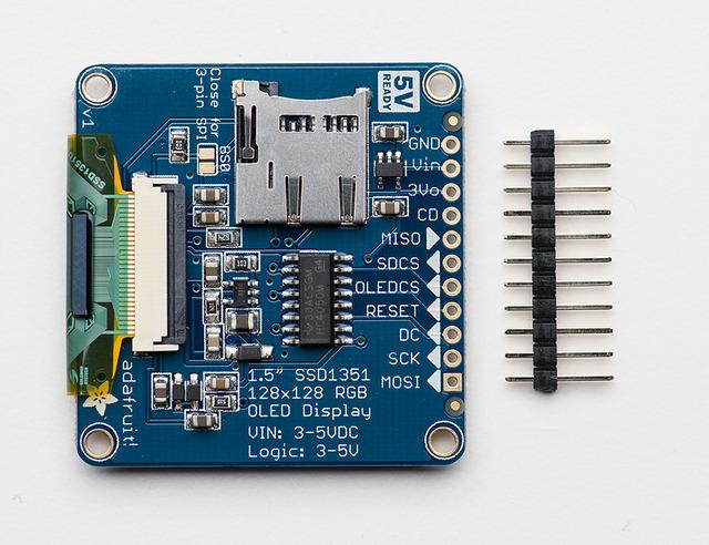 Assembly The breakout board comes fully assembled and tested. We include an optional strip of header pins to make it easier to use this display in a breadboard.