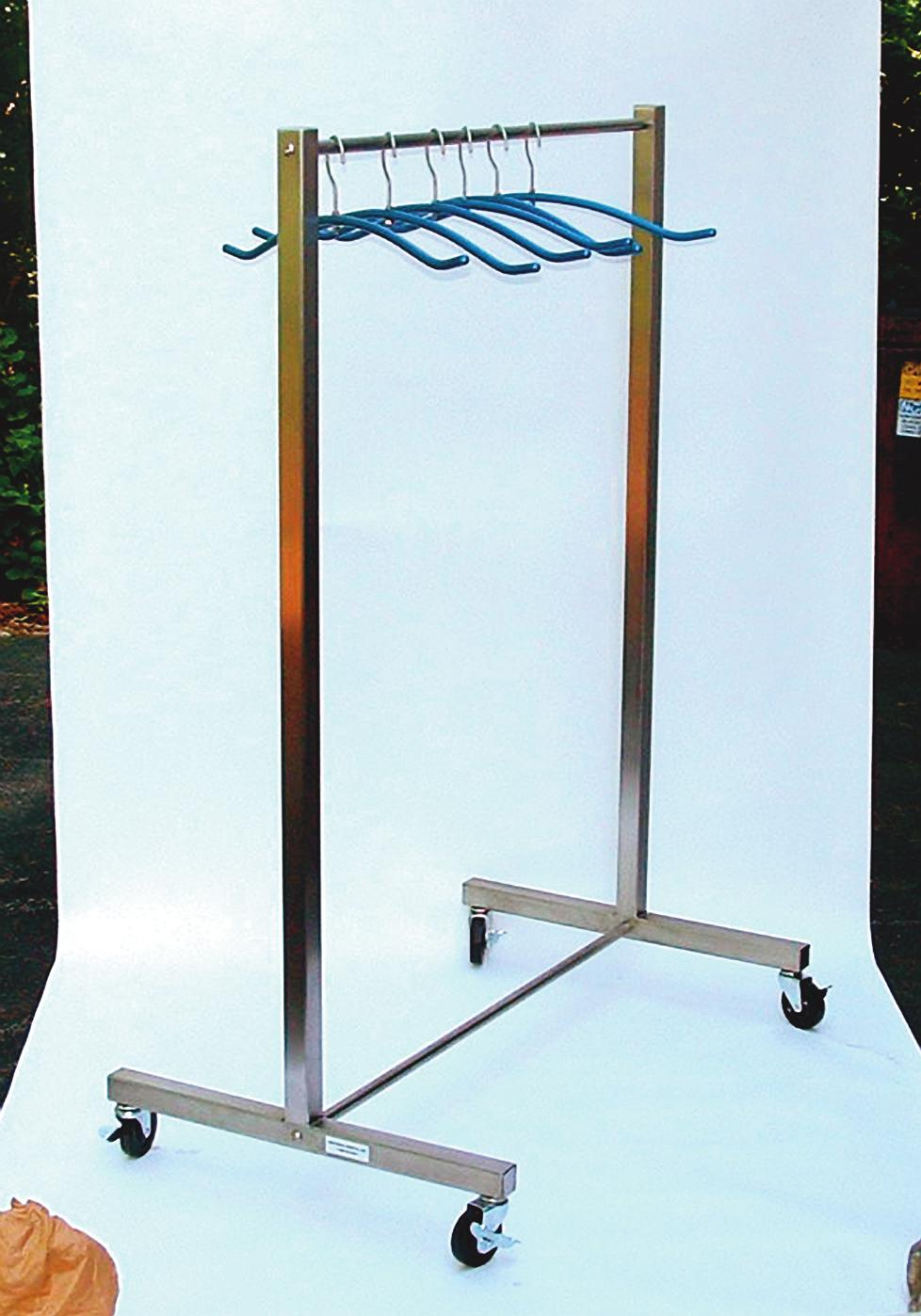 Apron Racks Roll-Away Designed with sturdy casters for easy storage and mobility.
