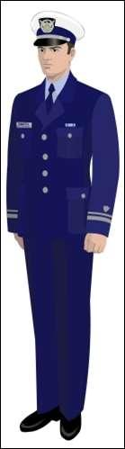 Service Dress Blue (SDB) Dress Blue coat, with silver buttons and dress blue pants Air Force style shirt with CG Blue tie Black socks and shoes Sleeve lace with sleeve shield Worn with