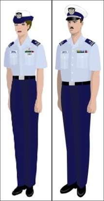 Tropical Blue May be worn when Service Dress Blue is not required and a coat and tie are not more appropriate Light blue Air Force short sleeve shirt, blue pants or skirt.