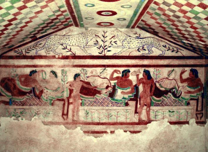 P a g e 89 Figure 19: Reclining couples banquet under painted tapestry. Tomb of the Leopards, Tarquinia.