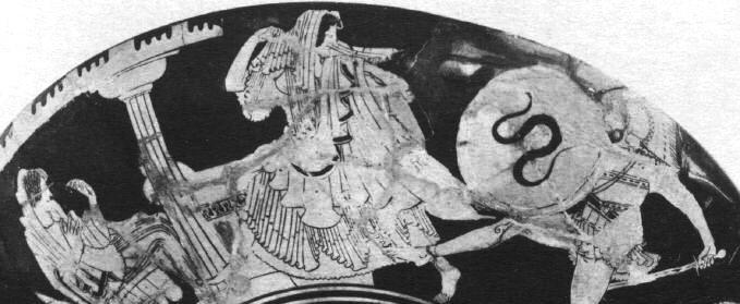 P a g e 92 Figure 28: Helen flees from Menelaus sword. Attic red-figure kylix (No. 204395). 500-450BCE, Tarquinia, Etruria.