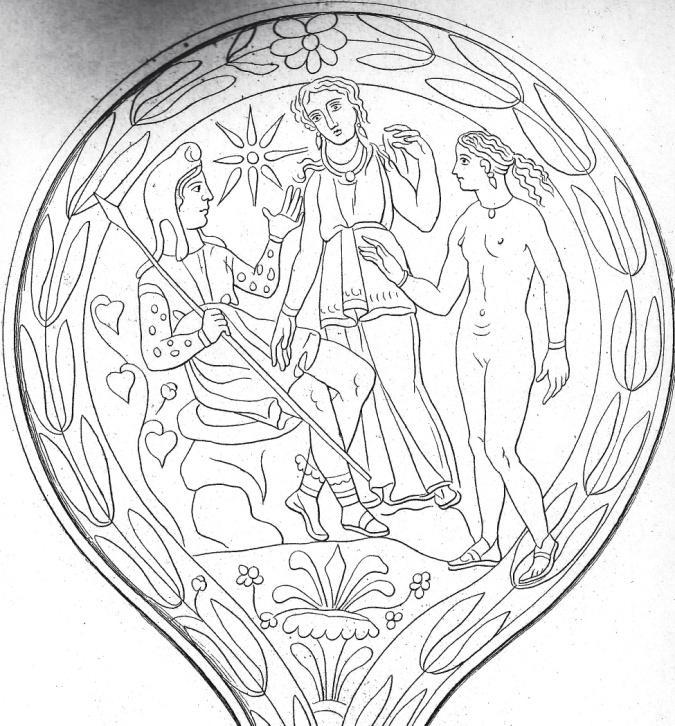 Figure 31: Barbarini mirror: Turan uniting a joyful Helen and Phrygian-capped