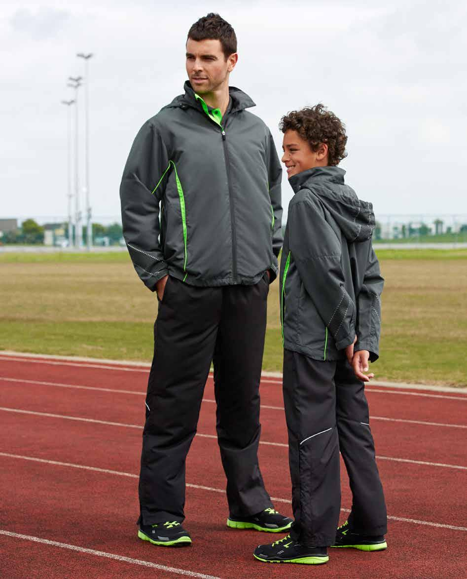 RAZOR BIZ COOL TEAm jacket & sports pant J408M J408K ADULTS JACKET KIDS JACKET Outer Shell: 100% Polyester Jacquard Lining: 100% BIZ COOL anti-snag diamond
