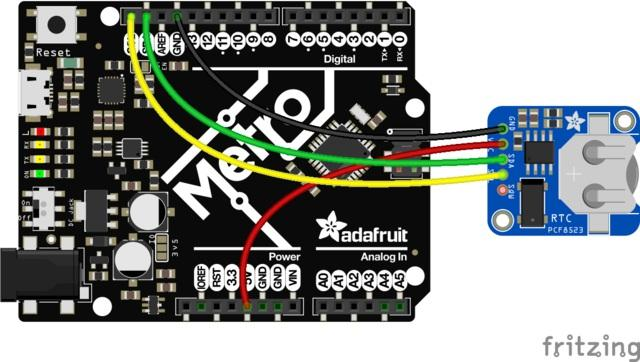 RTC with Arduino Wiring Wiring it up is easy, connect GND to GND on your board VCC to the logic level power of your board (on classic Arduinos & Metros use 5V, on 3.3V devices use 3.