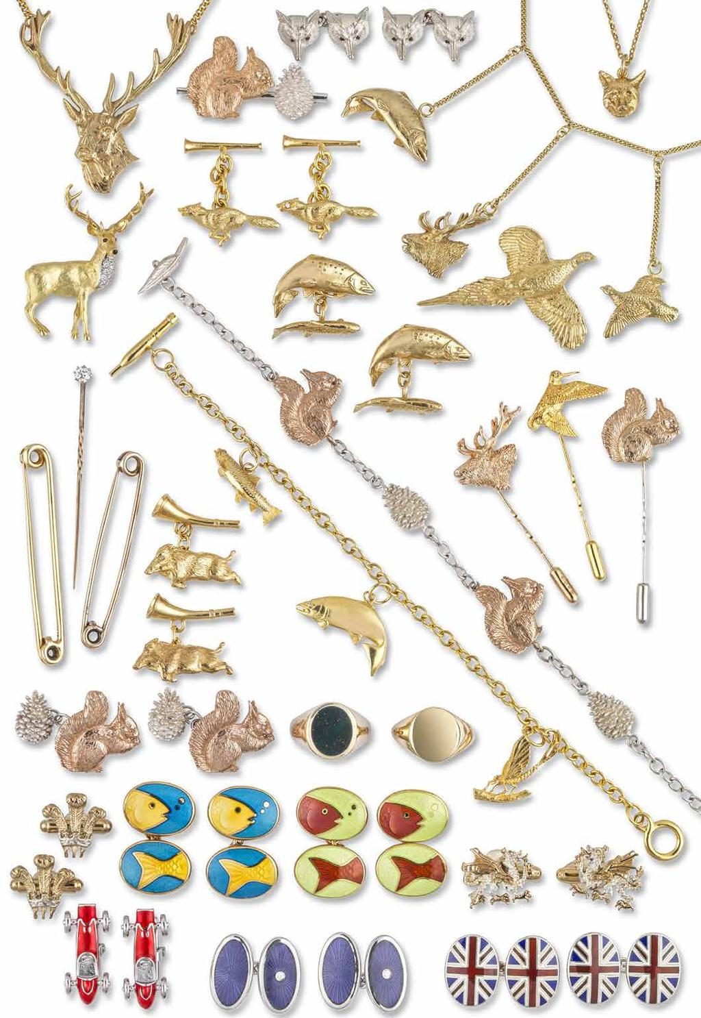 Nos 132 159 GREAT BRITISH WILDLIFE & GENTS COLLECTIONS JEWELLERY SHOWN ACTUAL SIZE 133 132 135 136 134 137 138 140 139