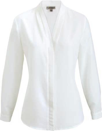 Stylized finger tucks. LADIES WOVEN V-NECK BLOUSE 061 010 000 5271 V-Neck Blouse $33.