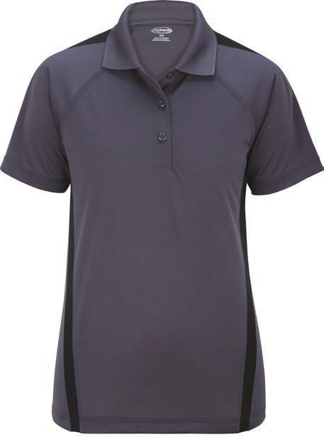 color blocking on shoulders and down sides Colorfast fabric has an antimicrobial finish and UV