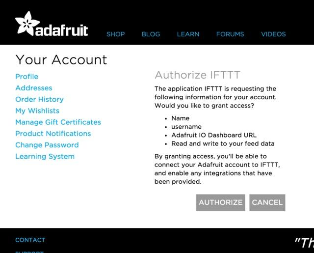 You will then be redirected back to IFTTT, and should