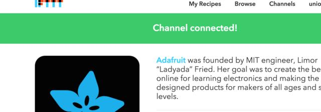 Creating the IFTTT Recipe Adafruit Industries