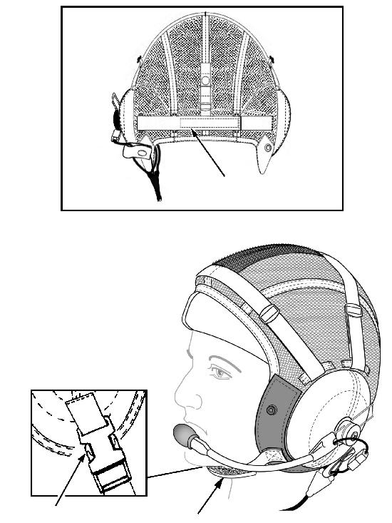 Slide the buck les on the earcup adjustment straps (Fig ure 3) as nec es sary so that the earcups are cen tered over your ears.