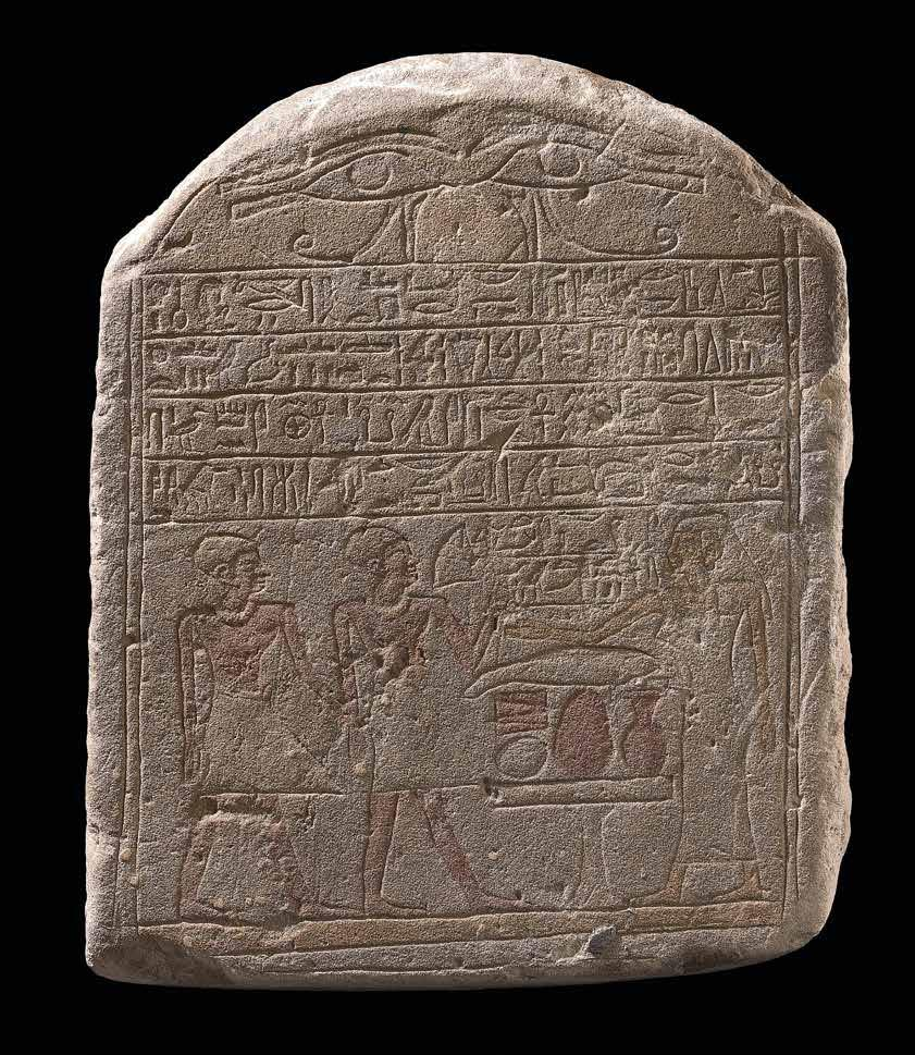 14 Stele for Siamun and Dedusobek Sandstone with engraved inscription and original polychromy Egypt Second