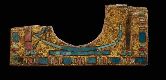 15 Pectoral fragment Gilded wood with inlays of coloured stones
