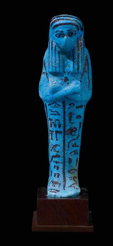 25 Shabti for Shedsuhor God s-father of Amun Blue faience with black